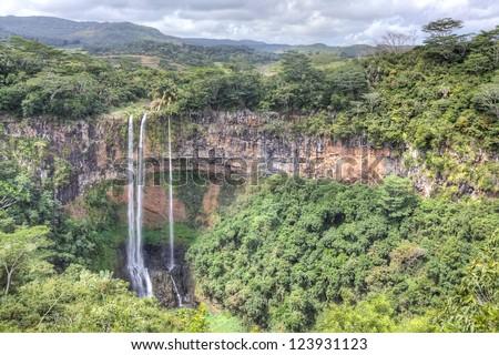 Scenic Chamarel falls in Mauritius - stock photo
