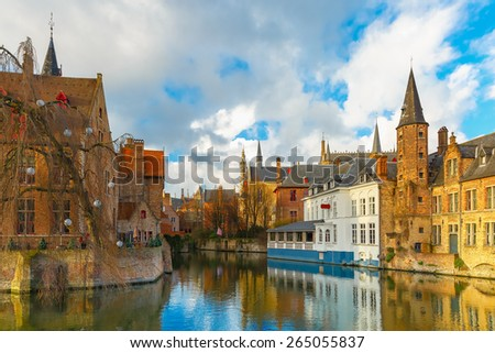 Scenic cityscape with a medieval fairytale town from the quay Rosary, Rozenhoedkaai in Bruges, Belgium - stock photo