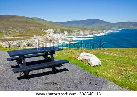 scenic cliffs near the west coast of ireland - stock photo