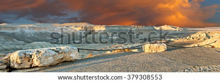 Scenic colorful point of view on valley in Ein Avdat National park, desert of the Negev, Israel - stock photo