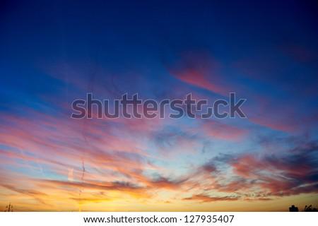 Scenic colorful sunset or sunrise background - stock photo