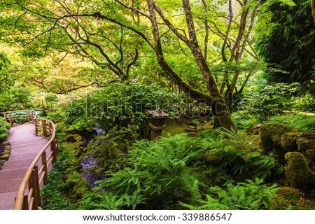 Scenic decorative park on Vancouver Island, Canada. Quiet Japanese garden - stock photo