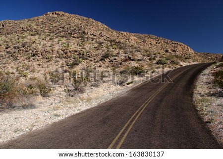 Scenic Desert Road, Big Bend National Park, Texas - stock photo