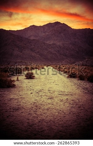 Scenic Desert Trail at Sunset. Coachella Valley Area. La Quinta, California, United States. Colorful Desert Sunset. - stock photo