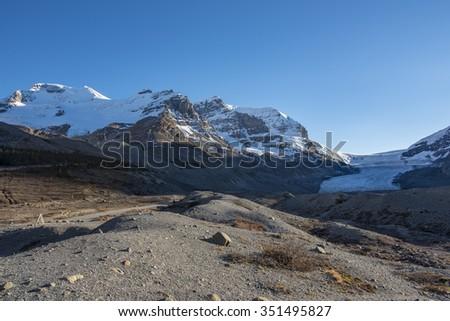 Scenic Glacier views of the Columbia Icefields Jasper National Park Alberta Canada - stock photo