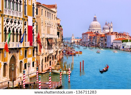 Scenic Grand Canal view from Accademia Bridge, Venice, Italy - stock photo
