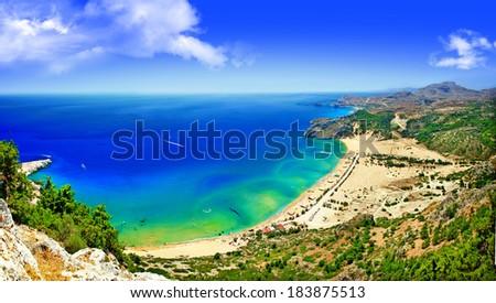 scenic Greek beaches - Tsambica bay, panorama - stock photo