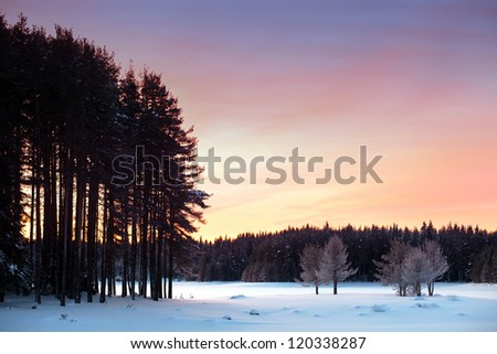 scenic HDR winter landscape for postcard or background - stock photo