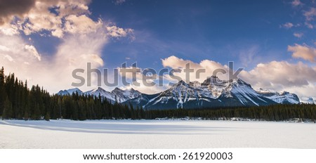 Scenic Herbert Lake in winter, Banff National Park, Alberta Canada - stock photo