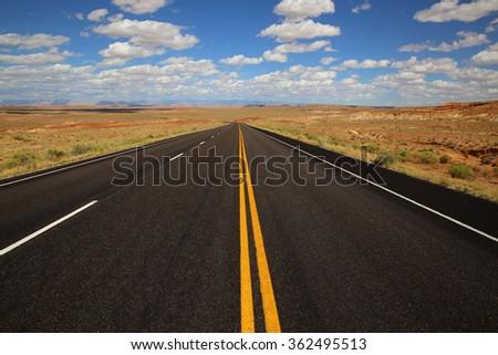 Scenic highway (Interstate 70, Utah, USA) - stock photo