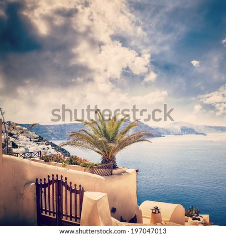 Scenic image from the famous Greek holiday island of Santorini. Pictured is the town of Oia.  - stock photo