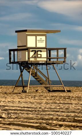Scenic image of Huntington Beach Lifeguard Tower - stock photo