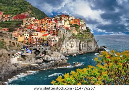 scenic Italy - pictorial Monarolla village, Cinque terre - stock photo