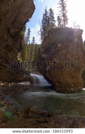 Scenic Johnston Canyon in Banff National Park - stock photo