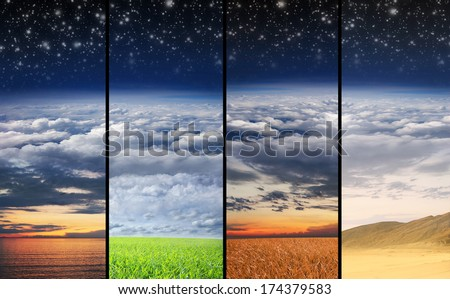 Scenic landscape collection including sunset and day light meadow, desert and sea - stock photo