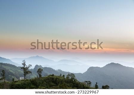Scenic Landscape during sunrise at Phu Chi Fa, North Thailand - stock photo