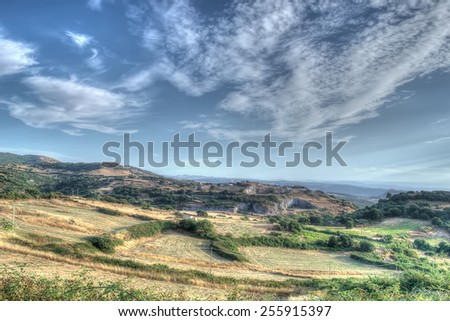 scenic landscape in Sardinia, Italy. Processed for hdr tone mapping effect - stock photo