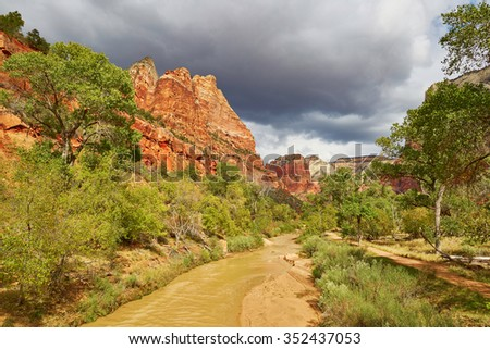 Scenic landscape in Zion national park, Utah, USA - stock photo