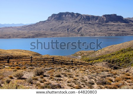Scenic landscape of Cody reservoir in Western Wyoming - stock photo