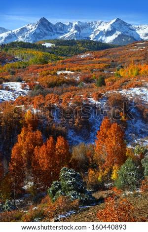 Scenic landscape of Dallas divide in autumn time - stock photo