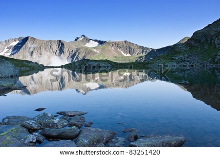 scenic landscape of the mountain lake before sunset - stock photo