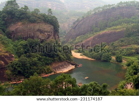 Scenic landscape of Wuyi Mountains peaks and the River of Nine Bends, Fujian province, China - stock photo