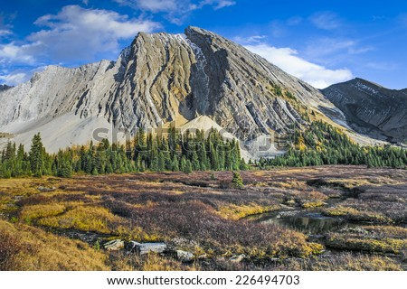 Scenic Landscapes of a high mountain lake, Chester Lake area of Kananaskis Country Alberta Canada on a sunny Autumn afternoon. - stock photo