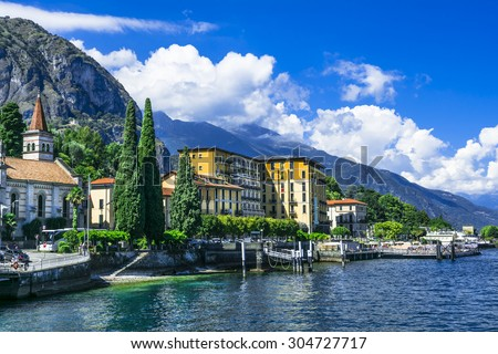 scenic landscapes of Lago di Como - Cadenabbia, Italy - stock photo