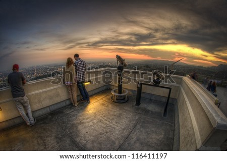 Scenic look out over LA - stock photo