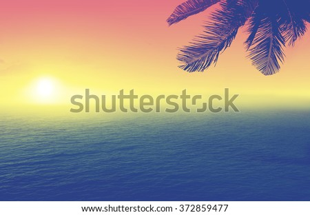 Scenic Miami Beach at sunset (sunrise) with coconut palm trees silhouettes.Tropical nature background. Vintage effect. - stock photo