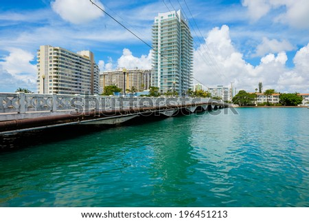 Scenic Miami Beach view along the Venetian Causeway with condos along the bay. - stock photo
