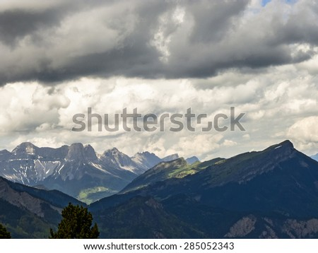 scenic Mont Aiguille in Vercors, France - stock photo