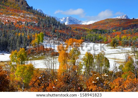 Scenic mount Sneffles in Colorado during autumn time. - stock photo