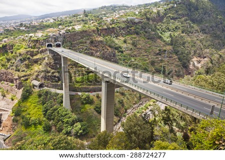 Scenic mountain highway roads on Madeira island, Portugal - stock photo