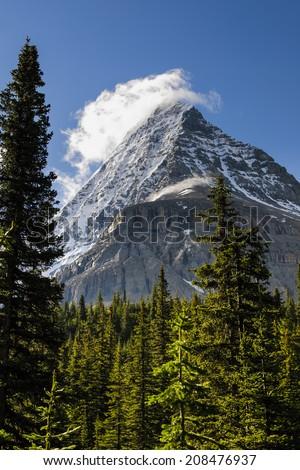 Scenic mountain hiking views, Berg Lake Trail, Mount Robson Provincial Park British Columbia Canada - stock photo