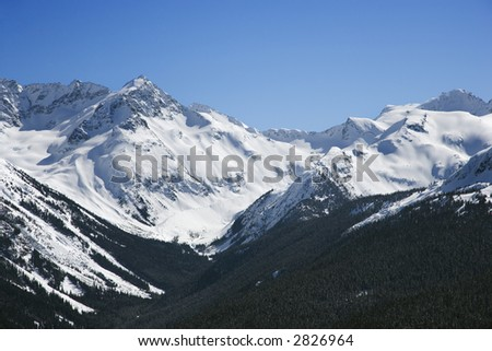 Scenic mountain landscape with snow in Whistler, British Columbia, Canada. - stock photo