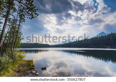 Scenic mountain river Banff National Park Alberta Canada - stock photo