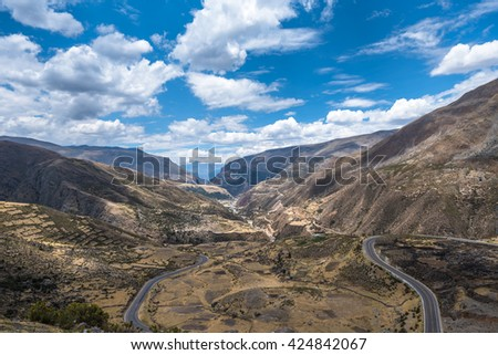 Scenic mountain road in the Andes, Peru - stock photo