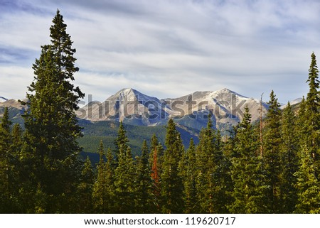 scenic mountain view in colorado during sunset - stock photo
