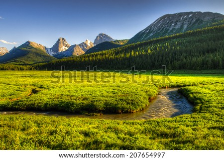 Scenic mountain views in the Summertime, Kananaskis Country Alberta Canada - stock photo