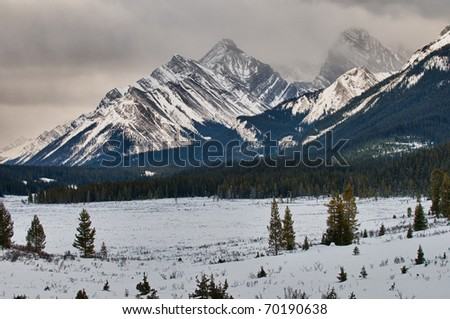 Scenic mountain views, Kananaskis Country, Alberta Canada in Winter - stock photo