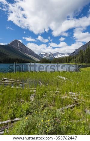 Scenic Mountain views, Marvel Lake Hiking trail, Kananaskis Country, Alberta Canada - stock photo