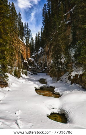 Scenic mountain views of Johnson's Canyon, Banff National Park Alberta Canada - stock photo