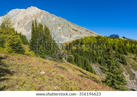 Scenic mountain views of Kananaskis Country Alberta Canada in summer - stock photo