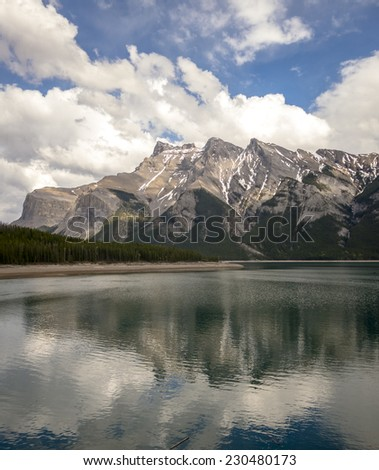 Scenic Mountains and Two Jack Lake in Banff - stock photo