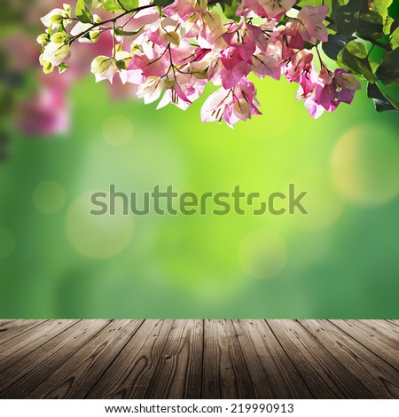 Scenic nature background with flower and wooden table - stock photo
