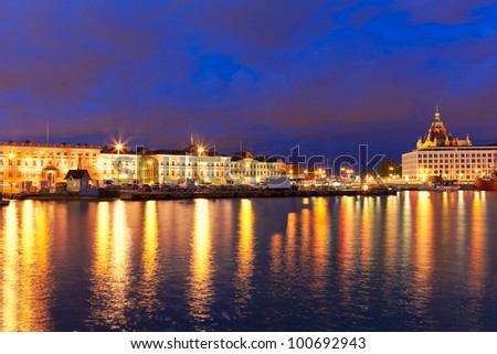 Scenic night panorama of the Old Town pier and Market Square in Helsinki, Finland - stock photo