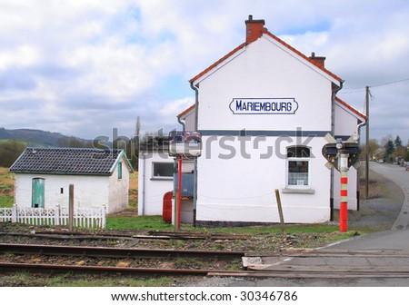 Scenic old railway station Belgium - stock photo