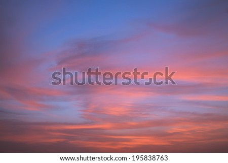 Scenic orange sunset sky background - stock photo