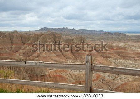 Scenic overlook at Badlands National Park, South Dakota. - stock photo